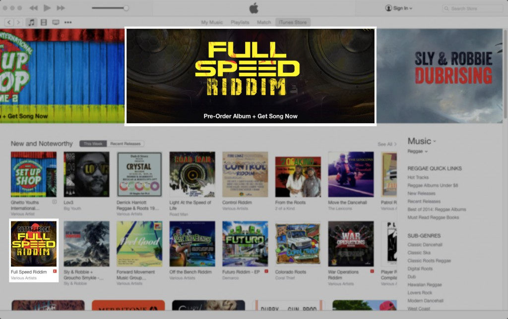 The Full Speed Riddim gets featured on the iTunes Store reggae page!